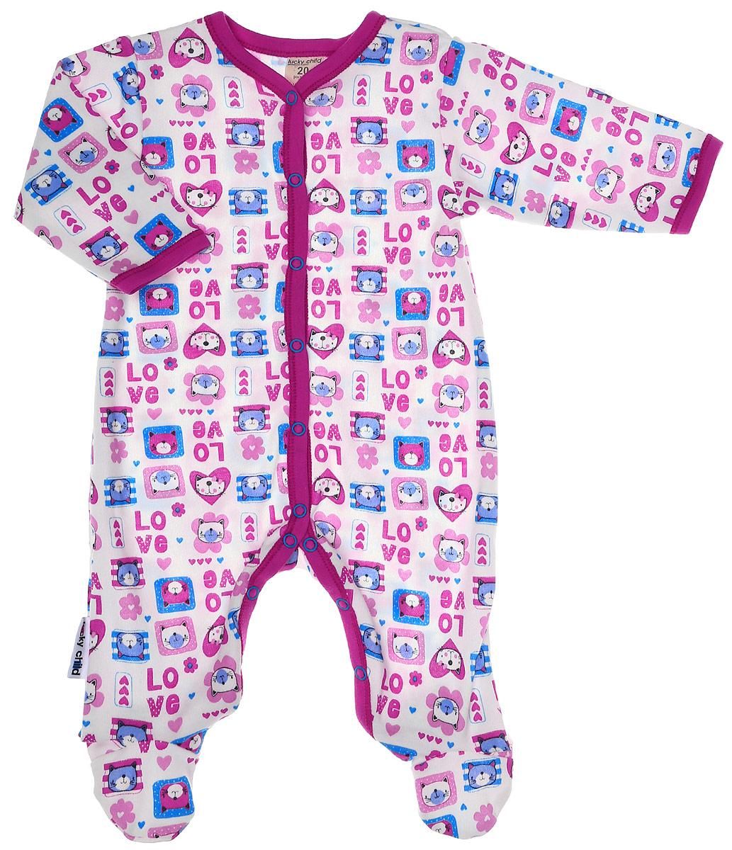 Комбинезон домашний детский Luky Child, цвет: розовый, молочный. А6-101/цв. Размер 56/62А6-101/цвДетский комбинезон Lucky Child - очень удобный и практичный вид одежды для малышей. Комбинезон выполнен из натурального хлопка, благодаря чему он необычайно мягкий и приятный на ощупь, не раздражают нежную кожу ребенка и хорошо вентилируются, а эластичные швы приятны телу малыша и не препятствуют его движениям. Комбинезон с длинными рукавами и закрытыми ножками имеет застежки-кнопки, которые помогают легко переодеть младенца или сменить подгузник. С детским комбинезоном Lucky Child спинка и ножки вашего малыша всегда будут в тепле, он идеален для использования днем и незаменим ночью. Комбинезон полностью соответствует особенностям жизни младенца в ранний период, не стесняя и не ограничивая его в движениях!