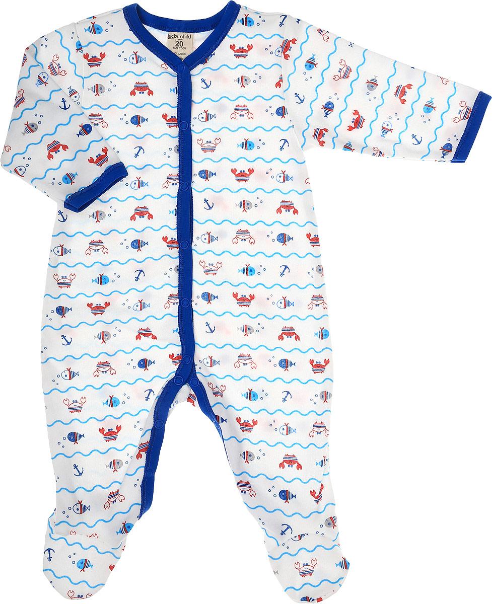 Комбинезон домашний детский Luky Child, цвет: молочный, синий. А5-101/цв. Размер 74/80А5-101/цвДетский комбинезон Lucky Child - очень удобный и практичный вид одежды для малышей. Комбинезон выполнен из натурального хлопка, благодаря чему он необычайно мягкий и приятный на ощупь, не раздражают нежную кожу ребенка и хорошо вентилируются, а эластичные швы приятны телу малыша и не препятствуют его движениям. Комбинезон с длинными рукавами и закрытыми ножками имеет застежки-кнопки, которые помогают легко переодеть младенца или сменить подгузник. С детским комбинезоном Lucky Child спинка и ножки вашего малыша всегда будут в тепле, он идеален для использования днем и незаменим ночью. Комбинезон полностью соответствует особенностям жизни младенца в ранний период, не стесняя и не ограничивая его в движениях!