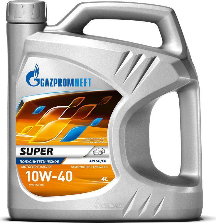 Масло моторное Gazpromneft Super 10W-40,API SG/CD, полусинтетическое, 4 л2389901318Полусинтетическое моторное масло, производится с использованием высококачественных базовых масел и сбалансированного пакета присадок. Масло обладает увеличенным сроком службы и сниженным расходом масла на угар. Хорошие вязкостно-температурные характеристики обеспечивают надежный пуск холодного двигателя, быструю подачу масла к узлам трения в зимний период эксплуатации, а также эффективное смазывание деталей двигателя при рабочих температурах. Обладает высокой термической и противоокислительной стабильностью. Имеет улучшенные противоизносные свойства, минимальную склонность к образованию отложений и шлама. Обеспечивает защиту деталей двигателя от отложений, износа и коррозии при соблюдении рекомендованных сроков замены масла. Одобрения / Соответствия / Уровень свойств: ОАО «АВТОВАЗ»; ОАО «ЗМЗ» (Евро-2); Сертифицировано ААИ