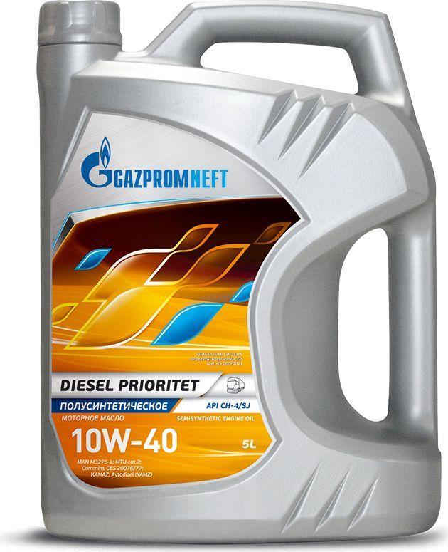 Масло моторное Gazpromneft Diesel Prioritet 10W-40, API CH-4/SJ, ACEA E7, A3/B4, полусинтетическое, 5 л2389901344Всесезонное универсальное полусинтетическое моторное масло, производится с использованием высококачественных базовых масел и сбалансированного пакета присадок. Разработаны в соответствии с экологическими нормами Евро-3, заменяют масла групп API CG-4, CF-4. Рекомендуются для применения в смешанных парках, имеющих в своем составе дизельную высоко и средненагруженную технику и технику с бензиновыми двигателями. Улучшенные вязкостно-температурные свойства (за счет увеличения индекса вязкости базовых масел) обеспечивают стабильные вязкостные свойства масла в процессе эксплуатации, надежное смазывание и охлаждение деталей двигателя в широком диапазоне нагрузок и температур окружающей среды. Повышенная термоокислительная стабильность масла обеспечивает увеличение ресурса и стабильность эксплуатационных свойств. Обеспечивают максимальную защиту двигателя от коррозии и образования высокотемпературных отложений при тяжелых режимах эксплуатации за счет использования высокоэффективных моюще-диспергирующих присадок и улучшенных базовых масел (с пониженной испаряемостью и сниженным содержанием серы). Защищает детали двигателя от износа, предотвращая полировку цилиндров.Одобрения / Соответствия / Уровень свойств: API CH-4/SJ; MAN M 3275-1; MTU Сat.2; Cummins CES 20076/77; ПАО «КАМАЗ»; ПАО «Автодизель» (ЯМЗ); ААИ Д5.
