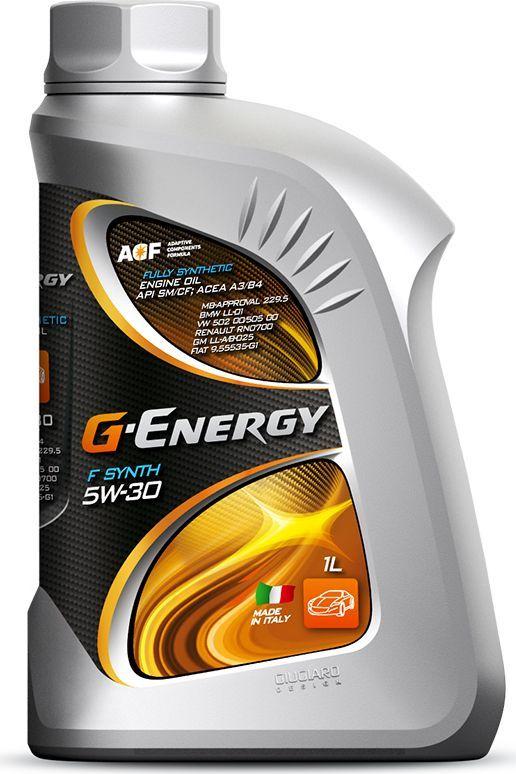 Масло моторное G-Energy F Synth 5W-30, API SM/CF, ACEA A3/B4, синтетическое, 1 л253140121Полностью синтетическое (Fully Synthetic) моторное масло. Разработано для бензиновых и дизельных двигателей (в том числе с турбонаддувом) легковых автомобилей, микроавтобусов и легких грузовиков, работающих в различных условиях эксплуатации как в тяжёлых, как и нет. Обеспечивает надёжную смазку пар трения при холодном пуске двигателя. Превосходные моющие свойства масла обеспечивают чистоту деталей двигателя. Отличные противоизносные свойства обеспечивают максимальный ресурс двигателя. Использование высококачественных базовых масел и эффективного пакета присадок позволяет максимально долго сохранить эксплуатационные свойства масла, что обеспечивает увеличение интервала замены масла и технического обслуживания автомобиля. Низкий расход масла на угар за счет специально подобранных базовых компонентов.Одобрения / Соответствия / Уровень свойств: ACEA A3/B4; MB 229.5; VW 502 00/505 00; BMW LL-01; Renault RN0700; GM LL-A/B-025
