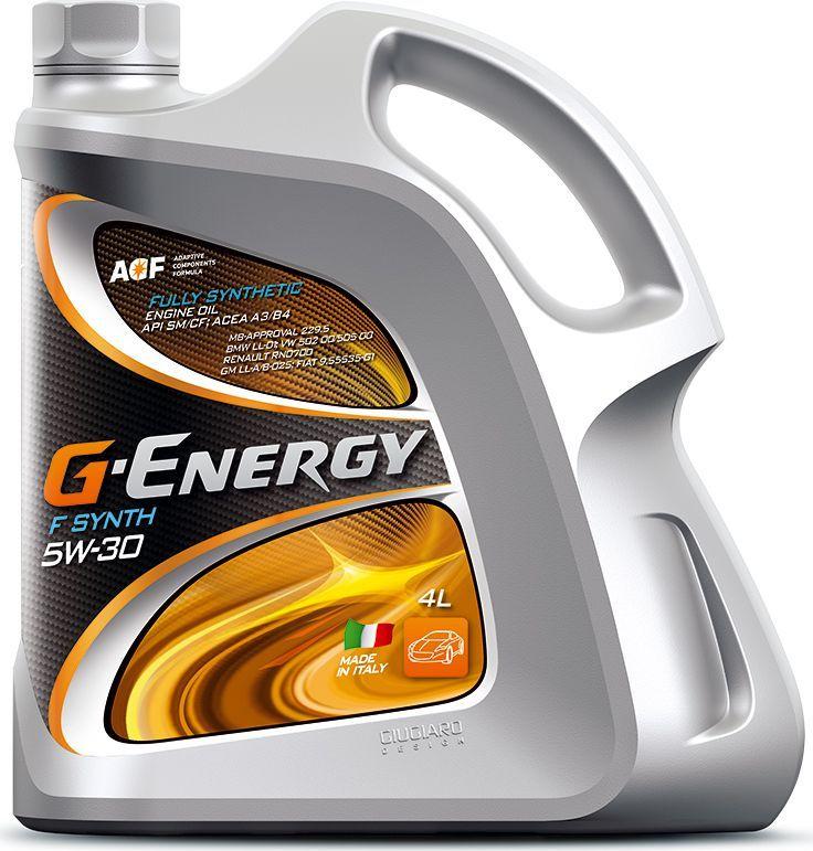 Масло моторное G-Energy F Synth 5W-30, API SM/CF, ACEA A3/B4, синтетическое, 4 л253140122Полностью синтетическое (Fully Synthetic) моторное масло. Разработано для бензиновых и дизельных двигателей (в том числе с турбонаддувом) легковых автомобилей, микроавтобусов и легких грузовиков, работающих в различных условиях эксплуатации как в тяжёлых, как и нет. Обеспечивает надёжную смазку пар трения при холодном пуске двигателя. Превосходные моющие свойства масла обеспечивают чистоту деталей двигателя. Отличные противоизносные свойства обеспечивают максимальный ресурс двигателя. Использование высококачественных базовых масел и эффективного пакета присадок позволяет максимально долго сохранить эксплуатационные свойства масла, что обеспечивает увеличение интервала замены масла и технического обслуживания автомобиля. Низкий расход масла на угар за счет специально подобранных базовых компонентов.Одобрения / Соответствия / Уровень свойств: ACEA A3/B4; MB 229.5; VW 502 00/505 00; BMW LL-01; Renault RN0700; GM LL-A/B-025
