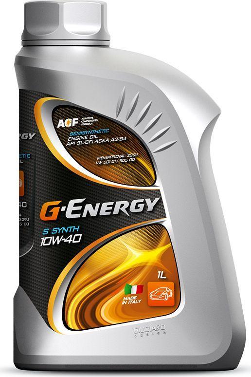 Масло моторное G-Energy S Synth 10W-40, API SL/CF, ACEA A3/B4, полусинтетическое, 1 л253140157Полусинтетическое (Semi Synthetic) моторное масло. Производится с использованием синтетического и минерального базовых масел и многофункционального пакета присадок. Рекомендовано для круглогодичного применения. Обеспечивает лёгкий пуск двигателя при низких температурах и оптимальную вязкость при высоких температурах. Превосходные смазывающие характеристики обеспечивают стабильную масляную плёнку на защищаемых от износа деталях двигателя при различных эксплуатационных режимах работы двигателя. Хорошие моюще-диспергирующие свойства масла обеспечивают чистоту двигателя, стойкость к образованию отложений всех видов. Совместимо с материалами уплотнений.Одобрения / Соответствия / Уровень свойств: ACEA A3/B4, MB 229.1, VW 501.01/505.00, ОАО «АВТОВАЗ», ОАО «ЗМЗ», Сертифицировано ААИ