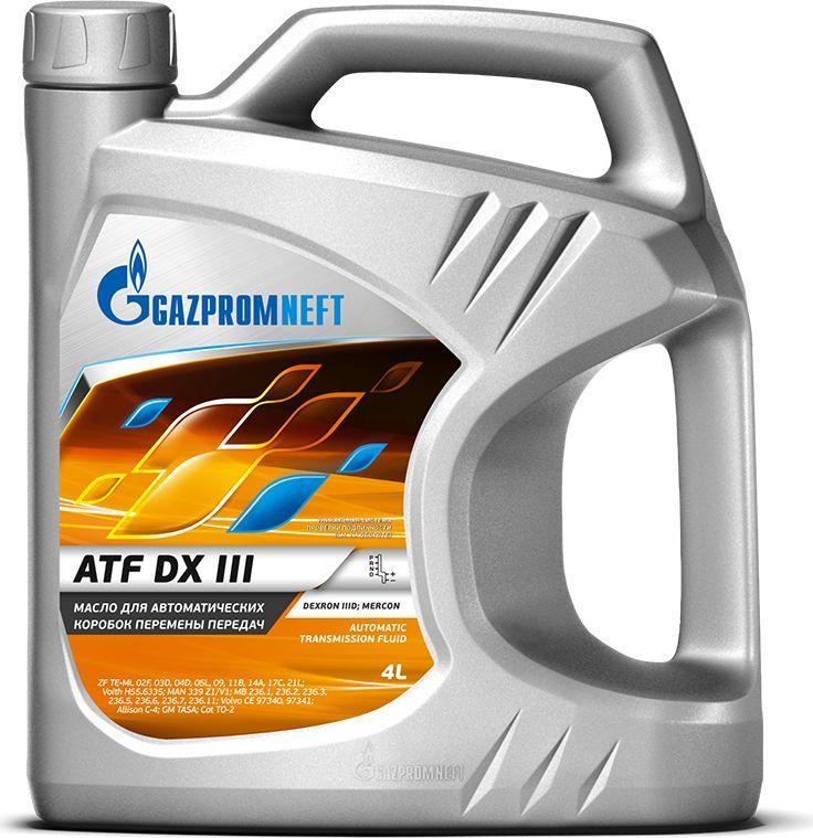 Масло трансмиссионное Gazpromneft ATF DX III, полусинтетическое, 4 л253651855Полусинтетическая рабочая жидкость, предназначенная для автоматических коробок передач, гидроусилителей рулевого управления легковых и грузовых автомобилей, автобусов, внедорожников, где рекомендованы жидкости уровня DEXRON III G. Отличные фрикционные свойства гарантируют плавное переключение передач и работу без вибрации. Обеспечивает максимальный срок службы трансмиссии за счет хороших антикоррозионных свойств. Совместимо с материалами сальников и уплотнений, применяемых в современной технике. Эффективно препятствует пенообразованию. Благодаря превосходным вязкостно-температурным свойствам обеспечивает хорошую прокачиваемость при отрицательных температурах. Одобрения / Соответствия / Уровень свойств: DEXRON IIIG; MERCON; ZF TE-ML 02F, 03D, 04D, 05L, 09, 11B, 14A, 17C, 21L; Voith H55.6335; MAN 339 Typ Z1/V1; MB 236.1, 236.2, 236.3, 236.5, 236.6, 236.7, 236.11; Volvo CE 97340,97341; Alison C-4; GM TASA; Cat TO-2