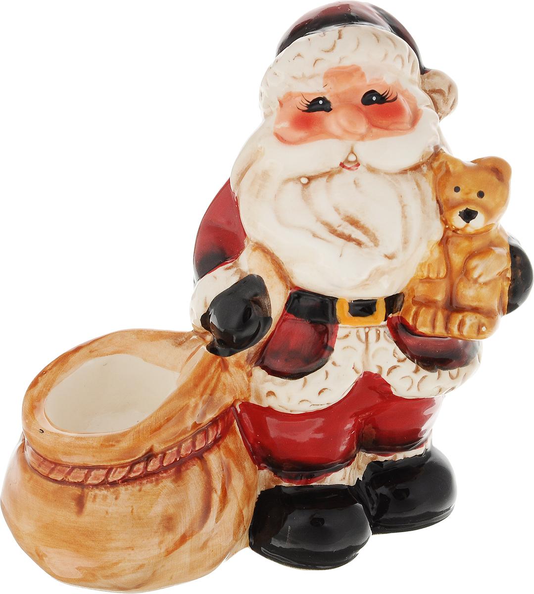 Подсвечник новогодний Win Max Дед Мороз с подарками, цвет: красный, 11 х 7 х 11 см украшение новогоднее настенное win max дед мороз 31 х 56 см