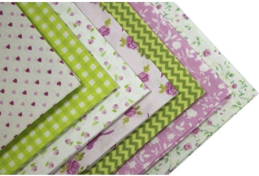 Набор тканей для пэчворка Кустарь  Розовый сад , цвет: белый, зеленый, сиреневый, 48 х 50 см