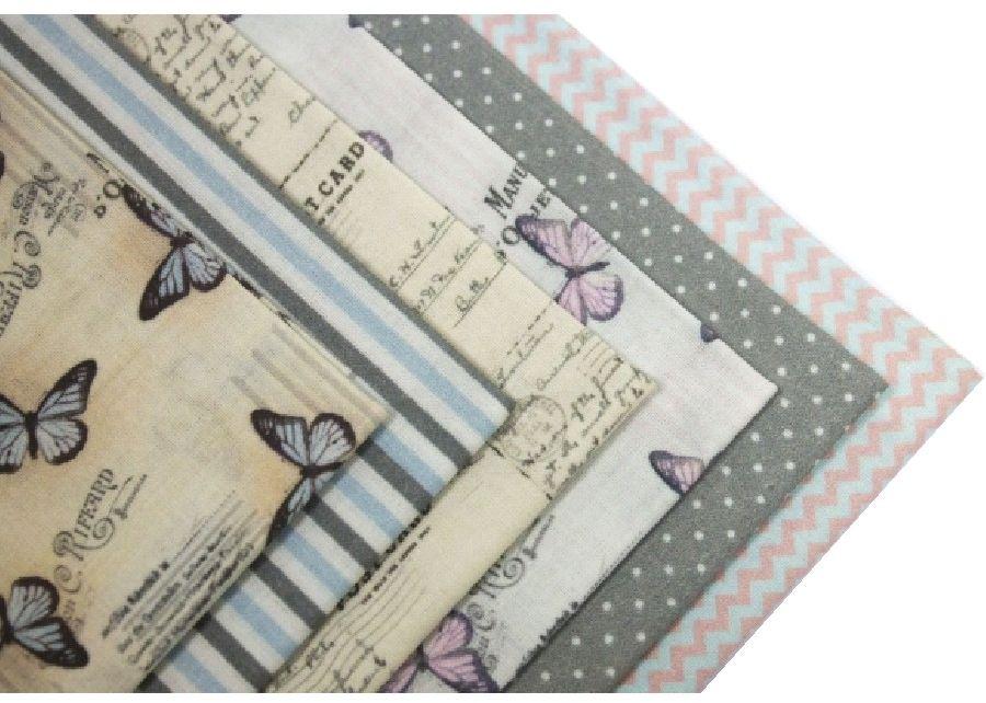 """Ткань Кустарь """"Нежные бабочки"""" - это высококачественная ткань из 100% хлопка, которая отлично подходит для пошива покрывал, сумок, панно, одежды, кукол. Также подходит для рукоделия в стиле скрапбукинг и пэчворк. В наборе 6 тканей различных расцветок.  Плотность ткани: 120 г/м2. Размер: 48 х 50 см."""