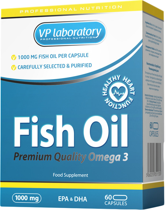 "Комплекс жиров и аминокислот VP Laboratory ""Fish Oil"", 1000 мг, 60 капсул"