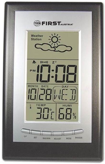 First FA-2460, Silver метеостанцияFA 2460 Silver with irowFirst FA-2460 - это многофункциональный прибор позволяющий постоянно быть в курсе температурных изменений. Метеостанция позволяет отображать температурные показатели в диапазоне до 50 градусов. Присутствует функция настройки единиц измерения температуры. Метеостанция может выполнять дополнительные функции часов, будильника и сохранять температурные значения, чтобы вы могли сравнить температура нынешнего и прошедшего дней. Понятный и удобный интерфейс обеспечивает легкую навигацию и настройку прибора.