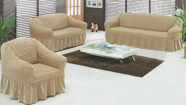 Чехол для трехместного дивана Burumcuk, цвет: светло-бежевыйTR00001348Чехол для дивана Burumcuk изготовлен из хлопкового трикотажа - жатки. По периметру чехла имеется резинка, которая прочно закрепляет чехол на кресле и препятсвует его сползанию. Трикотаж — текстильный материал (трикотажное полотно) или готовое изделие из трикотажного полотна, структура которого представляет соединенные между собой петли, в отличие от ткани, которая образована в результате взаимного переплетения двух систем нитей, расположенных по двум взаимно перпендикулярным направлениям. Для трикотажного полотна характерны растяжимость, эластичность и мягкость. При производстве трикотажных полотен используются синтетические, хлопчатобумажные, шерстяные и шелковые волокна в чистом виде или различных сочетаниях.Компания Arya является признанным турецким лидером на рынке постельных принадлежностей и текстиля для дома. Поэтому вы можете быть уверены, что приобретенные текстильные изделия доставят вам и вашим близким удовольствие. Размеры: сиденье примерно 240 см, спинка не более 240 см, подлокотник не более 15 см.
