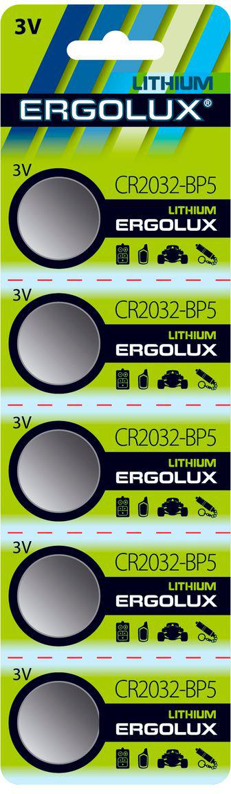 Батарейка литиевая Ergolux, тип CR2032, 3 В, 5 шт батарейка a23 ergolux lr23a 12296 1 штука