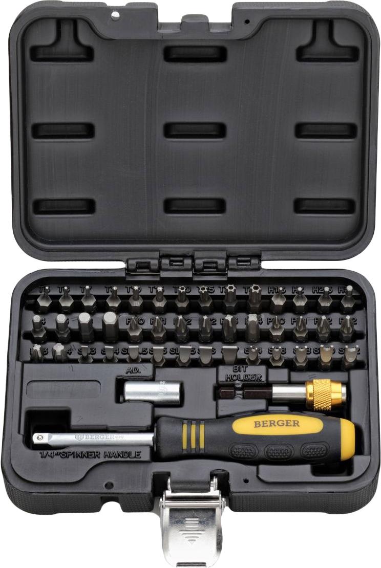 Набор бит Berger, 1/4, 45 предметовBG-45SBНабор бит Berger предназначен для монтажа/демонтажарезьбовых соединений при проведении слесарно-монтажных работ. В наборе42 биты, изготовленные из высококачественной стали. Также в набор входит отвертка с присоединительным квадратом, адаптер для бит иадаптер для шуруповерта. Набор поставляется в небольшом пластиковом кейсе. Состав набора: Отвертка с присоединительным квадратом. Адаптер для бит. Адаптер для шуруповерта. Биты: T5, T6, T7, T8, T10, T15, T20, T25, T27, T30, H1,5, H2, H2,5, H3, H4, H5, H6, H7, PH0, PH1, PH2 x 2, PH3, PH4, PZ0, PZ1, PZ2 x 2, PZ3, PZ4,SL3, SL4, SL4,5, SL5, SL5,5, SL6, SL7, SP4, SP6, SP8, SP10, SP12.