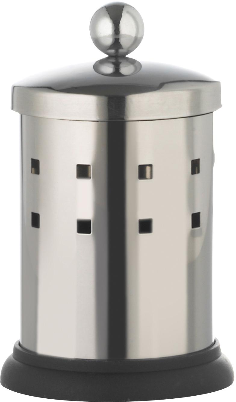 """Емкость """"Axentia"""", изготовленная из нержавеющей стали со специальной противоскользящей подставкой, предназначена для компактного хранения ватных палочек. Изделие оснащено крышкой. Емкость для хранения ватных палочек """"Axentia"""" удобна в использовании и экономит место.Высота емкости: 13 см.Диаметр основания емкости: 7 см."""