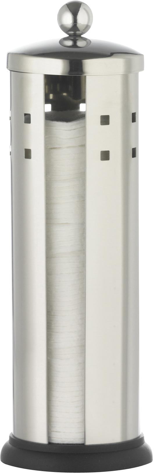 """Емкость """"Axentia"""", изготовленная из нержавеющей стали со специальной противоскользящей подставкой, предназначена для компактного хранения ватных дисков. Изделие оснащено крышкой. Емкость для хранения ватных дисков """"Axentia"""" удобна в использовании и экономит место.Высота емкости: 24 см.Диаметр основания емкости: 8 см."""