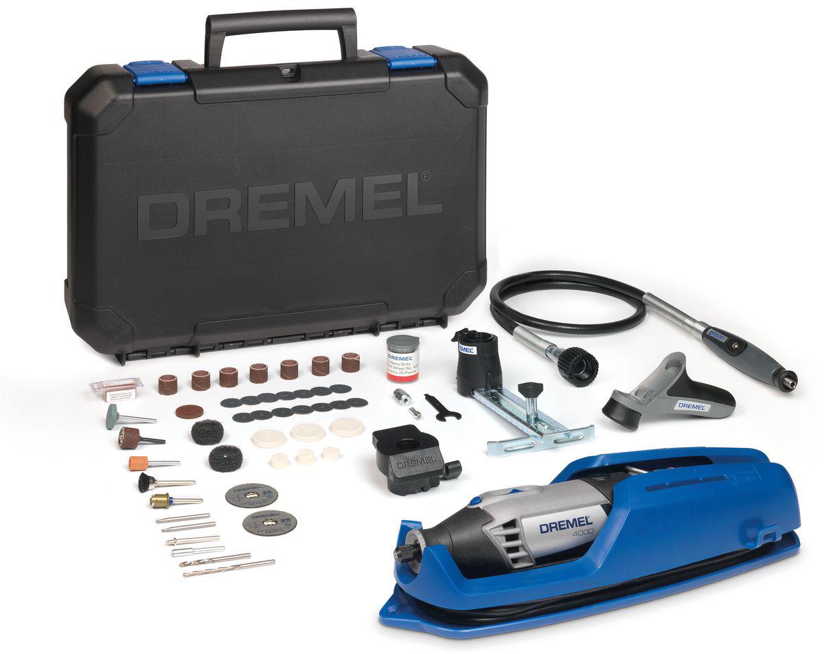 Многофункциональный инструмент Dremel 4000- 4/65F0134000JTМощный и точный многофункциональный инструмент Dremel 4000- 4/65 обеспечивает максимальную универсальную производительность. Многофункциональный инструмент со сменными насадками и приставками обеспечит такой контроль. Инструмент оснащен мягкой ручкой с возможностью поворота на 360 градусов, повышающей маневренность в любом положении. Обрабатывайте даже самые мелкие детали в самых неудобных и труднодоступных местах. Скорость вращения регулируется во всем диапазоне и имеет отдельный переключатель, поэтому вы всегда сможете продолжить свою работу в том режиме, на котором остановились. Высокопроизводительный двигатель и константная электроника позволяют развивать максимальную силу. Шлифуйте, полируйте, режьте и выполняйте обработку любых материалов с одинаковой легкостью. Особенности модели:Двигатель мощностью 175 Вт для максимальной производительности.Инновационный наконечник EZ Twist: для смены насадок не требуется ключ.Рукоятка с мягкой накладкой для комфортной работы.Полный контроль над регулированием скорости (5000 – 35000 об./мин.) для максимальной точности.Константная электроника обеспечивает необходимый крутящий момент и увеличивает производительность.Отдельный выключатель с интегрированной функцией блокировки цангового зажима. Комплектация:65 высококачественных насадок Dremel в мини-футляре (в том числе стартовый набор EZ SpeedClic).Гибкий вал (225).Насадка в виде карандашаЛинейный фрезерный циркуль (678).Шлифовальная платформа (576).Рукоятка для точных работ (577).Инструкция по эксплуатации.Вместительный и прочный кейс для хранения, со съемным лотком для насадок.В комплект входит уникальная подставка для крепления инструмента, упрощающая хранение вашего инструмента.Как выбрать мультитул. Статья OZON Гид