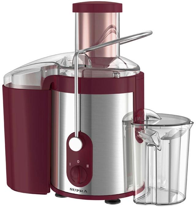 Supra JES-1860 соковыжималкаJES-1860Преимущество соковыжималки Supra JES-1860 состоит в высокой мощности 800 Вт, а также большой воронке (65 мм) для овощей и фруктов. Благодаря этим особенностям, а также объемному (1,5 л) контейнеру для мякоти, у вас будет возможность быстро и беспрерывно выжать большое количество свежего сока. Прибор имеет импульсный режим работы и две скорости вращения, что позволит получать сок как из мягких, так и из твердых фруктов.