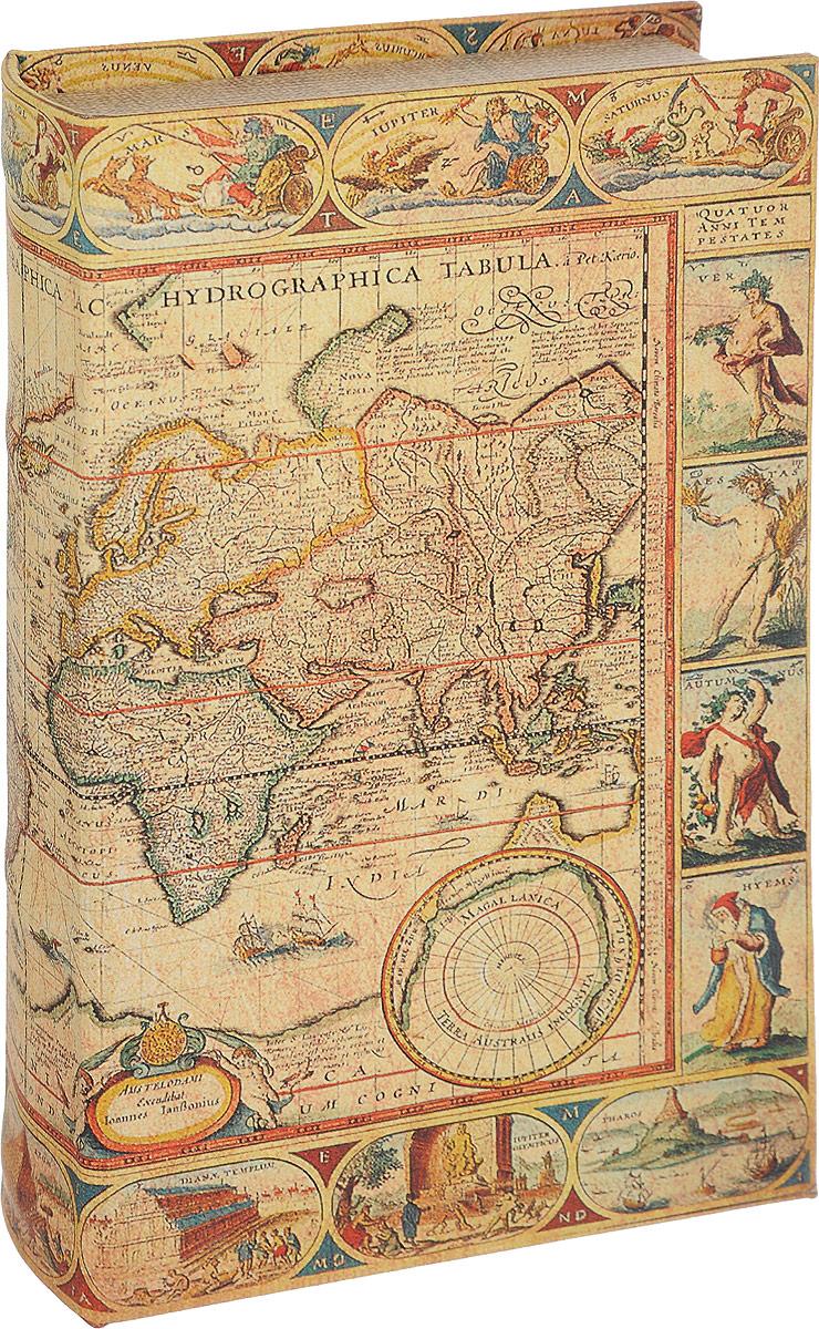 Шкатулка-фолиант Win Max Карта мира, 21 х 13 х 5 см184234Шкатулка-фолиант - это шкатулка в виде старинной книги, предназначена для хранения ценных бумаг, писем и т.д.