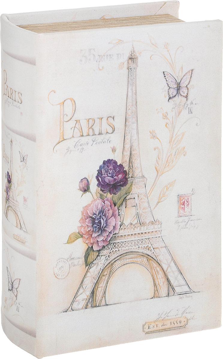 Шкатулка-фолиант Win Max Париж, 17 х 11 х 5 см184265Шкатулка-фолиант Win Max Париж выполнена в виде книги. Оригинальное оформление шкатулки, несомненно, привлечет к себе внимание.Поверхность шкатулки-фолианта выполнена из МДФ и искусственной кожи и декорирована оригинальным рисунком. Закрывается шкатулка на замок-магнит.Такая шкатулка может использоваться для хранения бижутерии, в качестве украшения интерьера, а также послужит хорошим подарком для человека, ценящего практичные и оригинальные вещи.