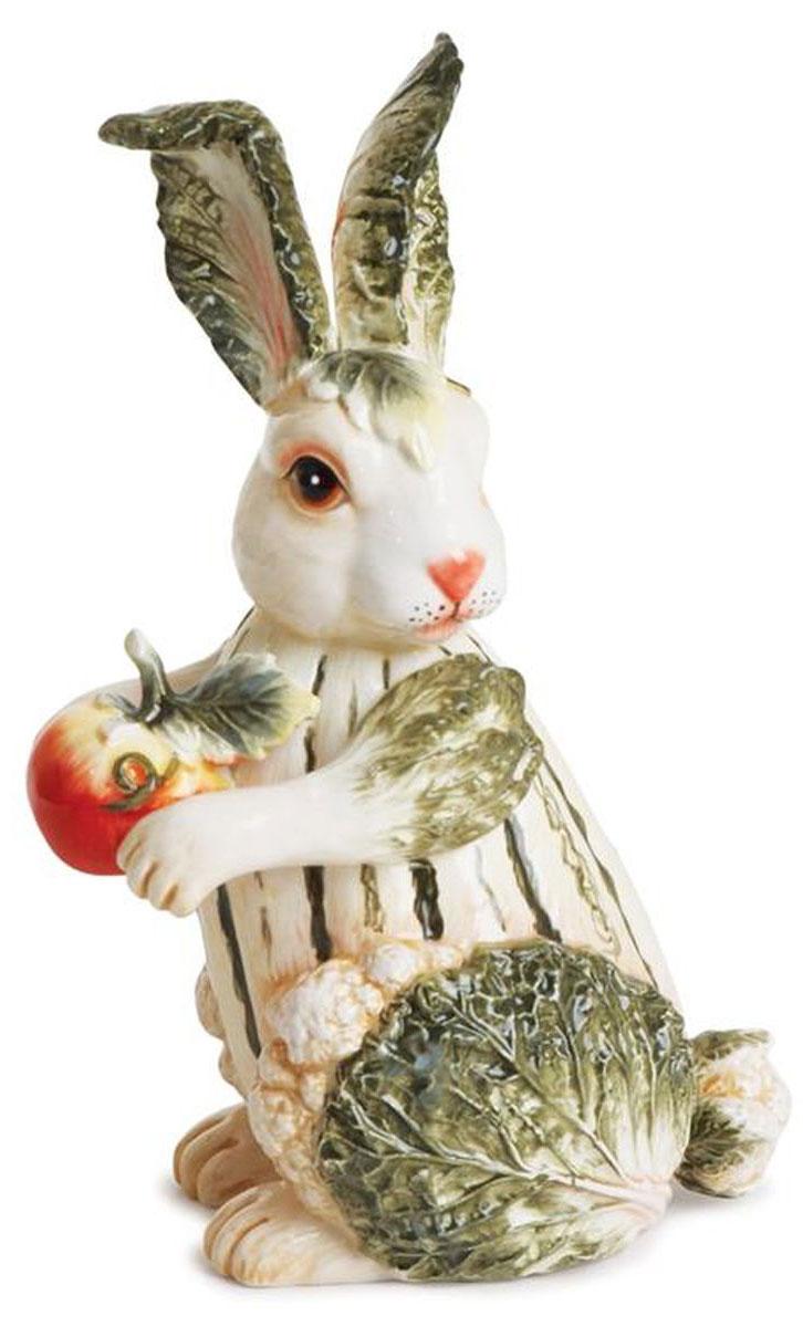 Фигурка декоративная Fitz and Floyd Vista Bella. Кролик63-627Украсьте ваш дом в итальянском стиле! Наполните кухню и гостиную яркими красками осени. Фигура кролика из высококачественной тонкой керамики – элитного фаянса – изготовлена и расписана вручную. Она станет гармоничным дополнением к другим предметам из набора дизайнерской столовой посуды Vista Bella. Скульптура радует не только своей красотой, но и оригинальностью. Сложенная из плода тыквы, листьев салата, кочанов цветной капусты, она являет собой символ богатого урожая. В лапах кролика яркий спелый томат.Рекомендуется бережная ручная мойка с использованием безабразивных моющих средствПодарочная упаковка.