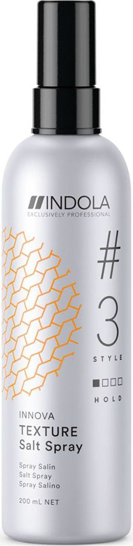 Indola Professional Солевой спрей для волос Texture #3 Style Innova, 200 мл2205476Солевой спрей для волос добавляет укладке текстуру. Обеспечивает фиксацию и матовый эффект.