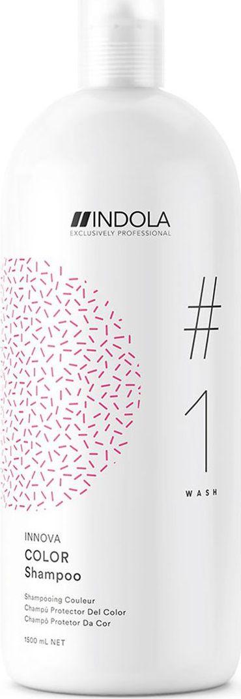 Indola Professional Шампунь для окрашенных волос Color #1 Wash Innova, 1,5 л2206365Шампунь для окрашенных волос обогащенный Протеинами Шелка, запечатывает цвет внутри волоса и препятствует потери цвета на 90% даже после 30 применений . Формула с Пиксельной Технологией придает волосам непревзойденное качество волос и обеспечивает блеск.