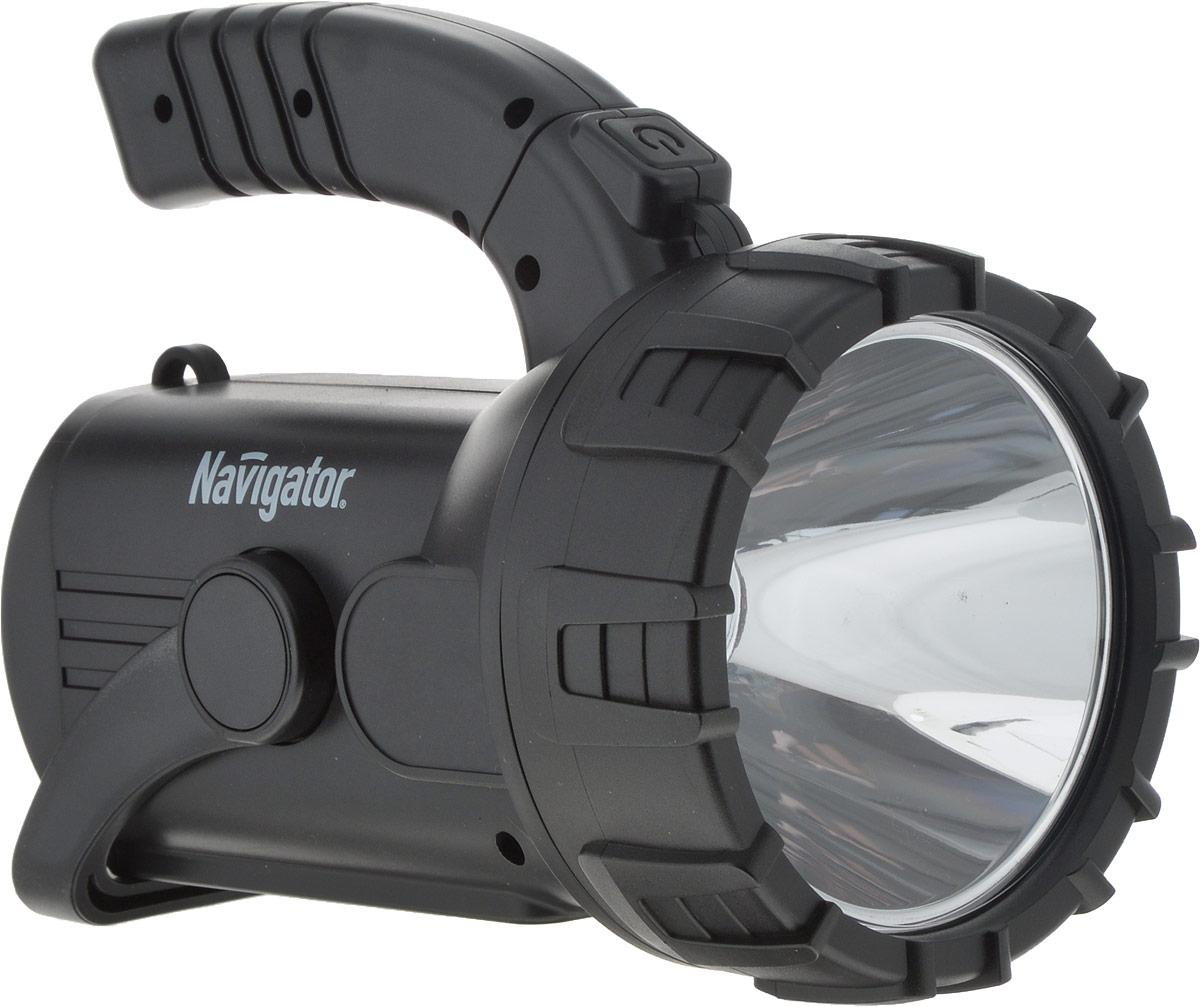 """Ручной фонарь Navigator """"94 975 NPT-SP12-ACCU"""" предназначен для освещения темных помещений или улицы. Особенностью представленной  модели, является возможность подзарядки аккумулятора, как от сети 220 В, так и от сети автомобиля, а также работа ламп в четырех режимах:  две степени яркости прожектора, 18 LED в плафоне и красный аварийный маячок. Благодаря мощным светодиодам, дальность освещения  фонаря достигает 100 метров. Прочный корпус надежно защитит от мелких механических повреждений и снабжен ремнем для переноски и  специальной поворотной ручкой.  Характеристики:  Зарядка от сети 220 В и бортовой сети автомобиля Индикация заряда Ремень для переноски, подставка, поворотная ручка Ударопрочный пластиковый корпус 4 режима работы:  Уровень яркости прожектора 50% Уровень яркости прожектора 100% Плафон 18 светодиодов Красный аварийный сигнал Мощность основной лампы: 3 (Вт)  Мощность вспомогат. лампы: 18 (Вт)  Тип основной лампы : Светодиод. (LED)  Тип вспомогат. лампы: Светодиод. (LED)  Длина: 196 (мм) Ширина: 153 (мм) Высота: 160 (мм) Материал корпуса : Пластик."""