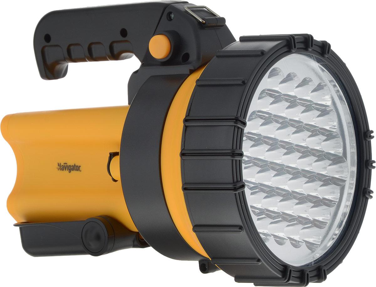 Фонарь ручной Navigator 94 966 NPT-SP10-ACCU4607136949669Фонарь ручной Navigator 94 966 NPT-SP10-ACCU - небольшой, носимый источник света для индивидуального использования на открытой местности и в помещениях. Изделие оснащено поворотной ручкой, регулируемой подставкой, а также ремнем для удобства переноски. Корпус фонаря выполнен из пластика. Устройство обладает свинцово-кислотным аккумулятором, который можно заряжать от сети 220 В или от бортовой сети автомобиля. Срок службы светодиодов: до 100 000 часов Установлен свинцово-кислотный аккумулятор: 4 В, 4АчПодзарядка осуществляется от сети 220 В и бортовой сети автомобиляФонарь работает до 8 часов без подзарядки, при полностью заряженном аккумуляторе Дальность освещения: до 100 м (в зависимости от состояния элементов питания) Длина 230 мм Ширина 168 ммВысота 170 мм.