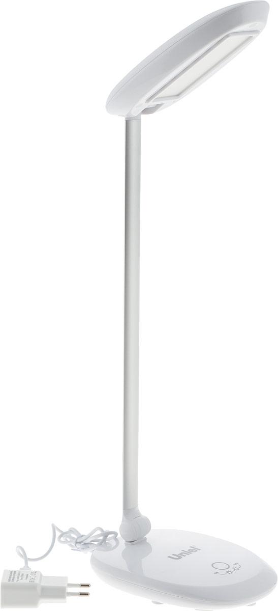 Светильник настольный Uniel TLD-531, светодиодный, с диммером, USB порт, цвет: белый, 4 ВтUL-00000805Светильник настольный торговой марки Uniel предназначен только для внутреннего освещения в жилых или общественных (офисы, магазины) помещениях. Светильник оборудован сенсорным выключателем с диммером. Направление света регулируется шарнирной стойкой. Отражатель имеет специальную форму для максимально комфортного освещения. Светильник TLD-531 может подключаться к USB-порту компьютера.В качестве источника света в светильнике применяются светодиоды, коэффициент цветопередачи не менее 70лм/Вт. Светодиодный источник света гарантирует не менее 30 000 часов безупречной работы настольного светильника. Светильник предназначен для работы в сети переменного тока с номинальным рабочим напряжением 220 В и частотой 50 Гц, при температуре окружающей среды от 0 до +45°С и относительной влажности не выше 85%. Продукция сертифицирована и соответствует требованиям нормативных документов. Характеристики: Материал корпуса: пластик, металлПрименяемая лампа: светодиодСветовой поток: 400 лмЦветовая температура: 4500 КЭквивалентная мощность лампы накаливания: 40 ВтКоличество USB-портов: 1Упаковка: коробка
