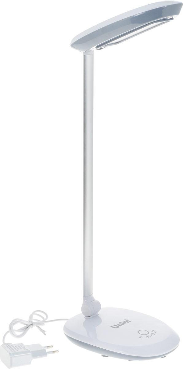 Светильник настольный Uniel TLD-531, светодиодный, с диммером, USB порт, цвет: серый, белый, 4 ВтUL-00000807Светильник настольный торговой марки Uniel предназначен только для внутреннего освещения в жилых или общественных (офисы, магазины) помещениях. Светильник оборудован сенсорным выключателем с диммером. Направление света регулируется шарнирной стойкой. Отражатель имеет специальную форму для максимально комфортного освещения. Светильник TLD-531 может подключаться к USB-порту компьютера.В качестве источника света в светильнике применяются светодиоды, коэффициент цветопередачи не менее 70лм/Вт. Светодиодный источник света гарантирует не менее 30 000 часов безупречной работы настольного светильника. Светильник предназначен для работы в сети переменного тока с номинальным рабочим напряжением 220 В и частотой 50 Гц, при температуре окружающей среды от 0 до +45°С и относительной влажности не выше 85%. Продукция сертифицирована и соответствует требованиям нормативных документов. Характеристики: Материал корпуса: пластик, металлПрименяемая лампа: светодиодСветовой поток: 400 лмЦветовая температура: 4500 КЭквивалентная мощность лампы накаливания: 40 ВтКоличество USB-портов: 1Упаковка: коробка
