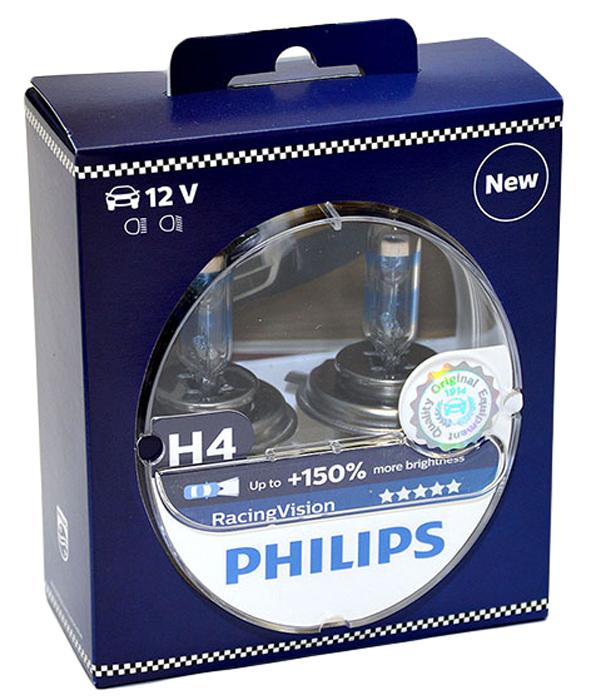Лампа автомобильная галогенная Philips RacingVision +150, цоколь H4, 60 Вт, 2 шт12342RVS2Галогеновая лампа Philips RacingVision +150, самая яркая лампа, разрешенная для использования на дорогах.Особенности: Повышение яркости света до 150%*. Позволяет видеть дальше и реагировать быстрее. Оптимизированы для зимнего освещения. Управляя машиной на большой скорости на плохо освещенных проселочных дорогах, вы вынуждены полагаться на производительность фар. Если перед вами неожиданно появляется препятствие, главное - время реакции. Даже доля секунды может серьезно повлиять на вашу безопасность.
