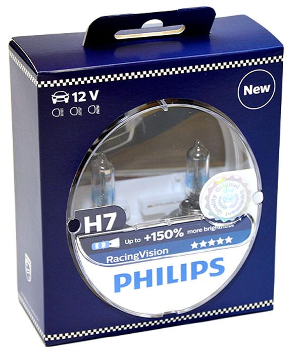 Лампа автомобильная галогенная Philips RacingVision +150, цоколь H7, 12V- 55W (PX26d), 2 шт12972RVS2Галогеновая лампа Philips RacingVision +150, самая яркая лампа, разрешенная для использования на дорогах.Особенности: Повышение яркости света до 150%*. Позволяет видеть дальше и реагировать быстрее. Оптимизированы для зимнего освещения. Управляя машиной на большой скорости на плохо освещенных проселочных дорогах, вы вынуждены полагаться на производительность фар. Если перед вами неожиданно появляется препятствие,главное - время реакции. Даже доля секунды может серьезно повлиять на вашу безопасность. Превосходные характеристики луча ламп Philips RacingVision позволяют быстрее определять опасную ситуацию и не терять управление автомобилем - независимо от дорожных условий.