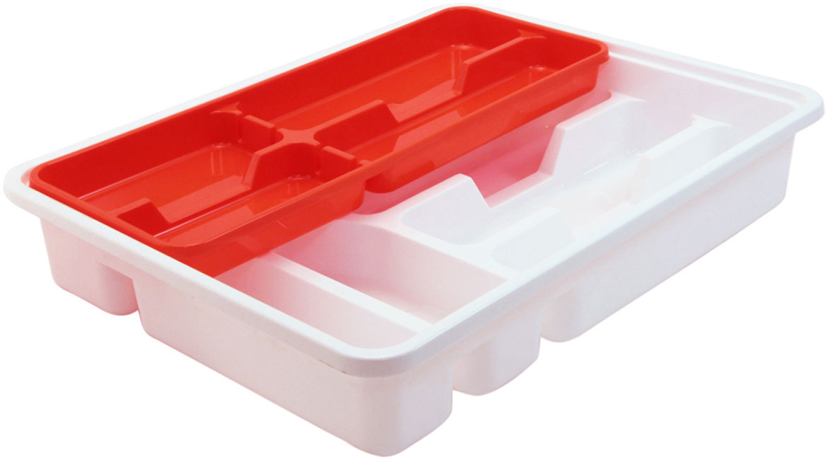 Лоток-вкладыш для столовых приборов Idea, двухуровневый, цвет: оранжевыйМ 1146Лоток-вкладыш для столовых приборов Idea изготовлен из пластика. Лоток помогает поддерживать порядок на кухне, разделяя столовые приборы по своим местам.Вкладыш - это дополнительное место для хранения, которое не увеличивает ширину лотка. Столовые приборы, которые лежат в нижней части, удобно доставать, вкладыш легко сдвигается в сторону или вынимается из лотка.