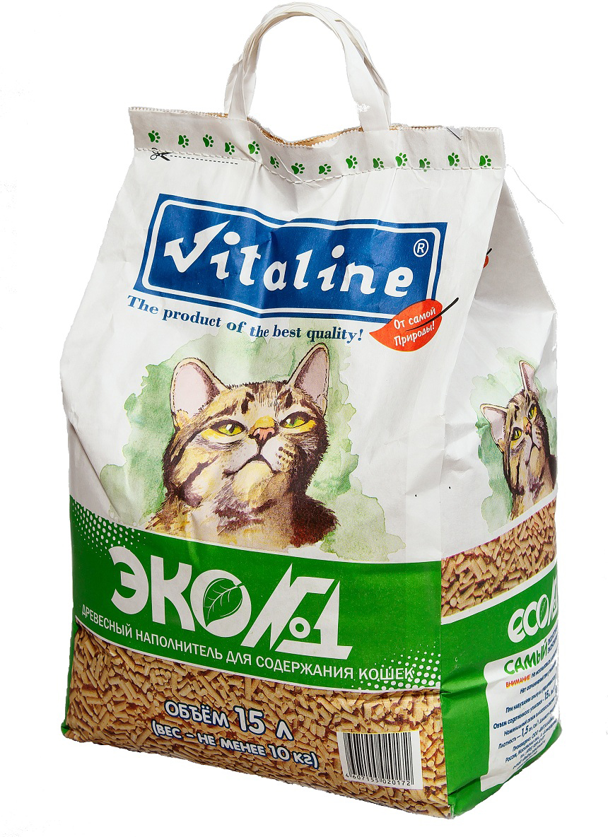 Наполнитель для кошачьего туалета Vitaline Эко№1, древесный, 10 кг337Наполнитель для кошачьих туалетов Vitaline Эко№1 - универсальное средство для ухода за кошками, грызунами, рептилиями и даже птицами. Наполнитель созданный из массива хвойных пород древесины. 100% биологически разлагаем, не причиняет никакого вреда природе и совершенно безопасен для окружающей среды. Наполнитель Vitaline Эко№1 нейтрализует неприятные запахи в период между посещениями лотка, сохраняя свежесть кошачьего туалета. Условия хранения:Гигиенический сертификат на упаковочный материал: Хранение при температуре 20C и относительной влажности не более 80%. Срок годности: не менее 5 лет.