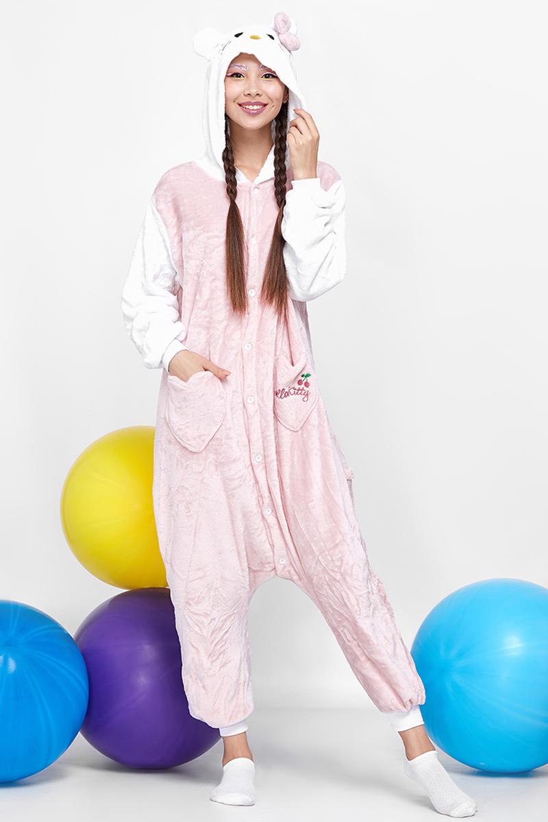 Комбинезон домашний женский Nothing but love, цвет: розовый, белый. 202222. Размер L (46)202222Уютные кигуруми носят в качестве пижам, домашней одежды и спортивных костюмов. Популярны они стали благодаря модному направлению гангуро в Японии. Звезды Джаред Лето, Кара Делевинь и Ариана Гранде сделали эти комбинезоны своей фишкой.Удобные пуговицы спереди позволяют легко застегивать вещь. В боковых швах есть карманы средней глубины. Сзади находится молния, скрытая в поперечном шве. Трикотажные манжеты на рукавах и штанинах легко растягиваются, не затрудняя движений. Двусторонний флис, из которого сделан комбинезон, приятный и нежный наощупь. К тому же качественный материал позволяет сохранять тепло. Подкладка у изделия отсутствует.