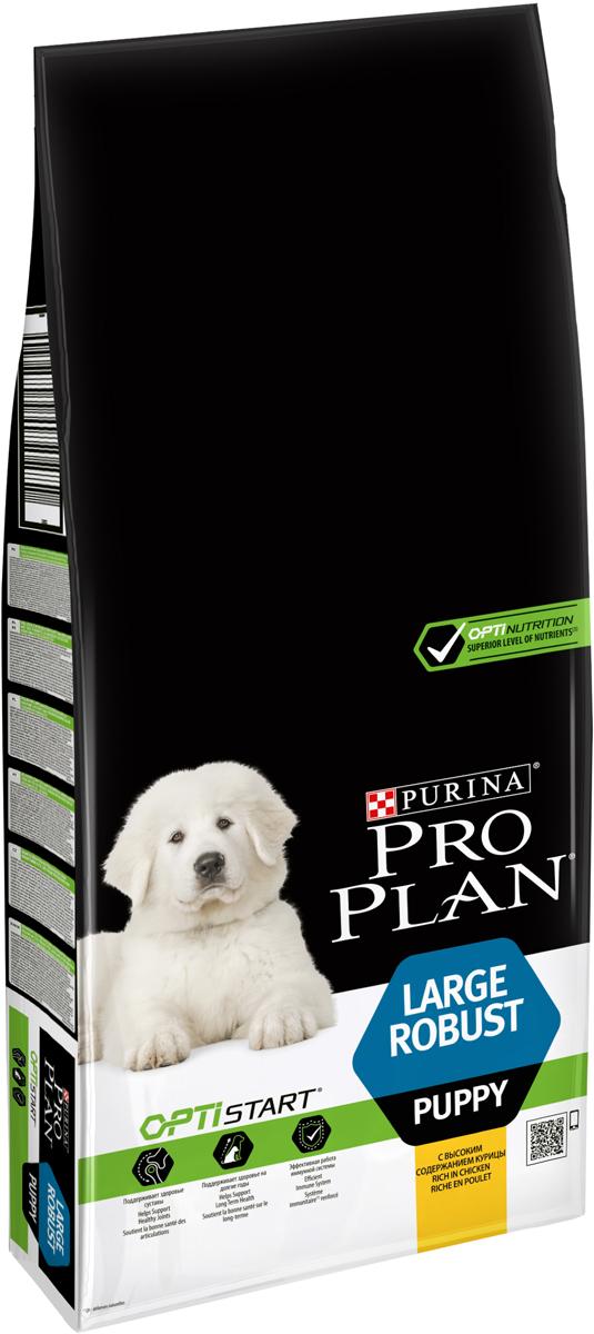 Корм сухой Pro Plan Optistart для щенков крупных кород, с курицей и рисом, 12 кг корм сухой pro plan adult large robust для собак крупных пород с мощным телосложением с курицей 14 кг