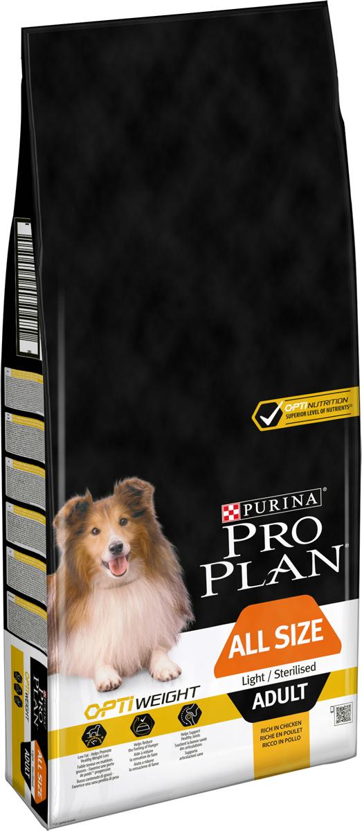 Корм сухой Pro Plan Light, для собак, низкокалорийный, с курицей и рисом, 14 кг сухой корм pro plan optiweight light sterilised adult all size с курицей для склонных к избыточному весу стерилизованных собак 14кг 12272558