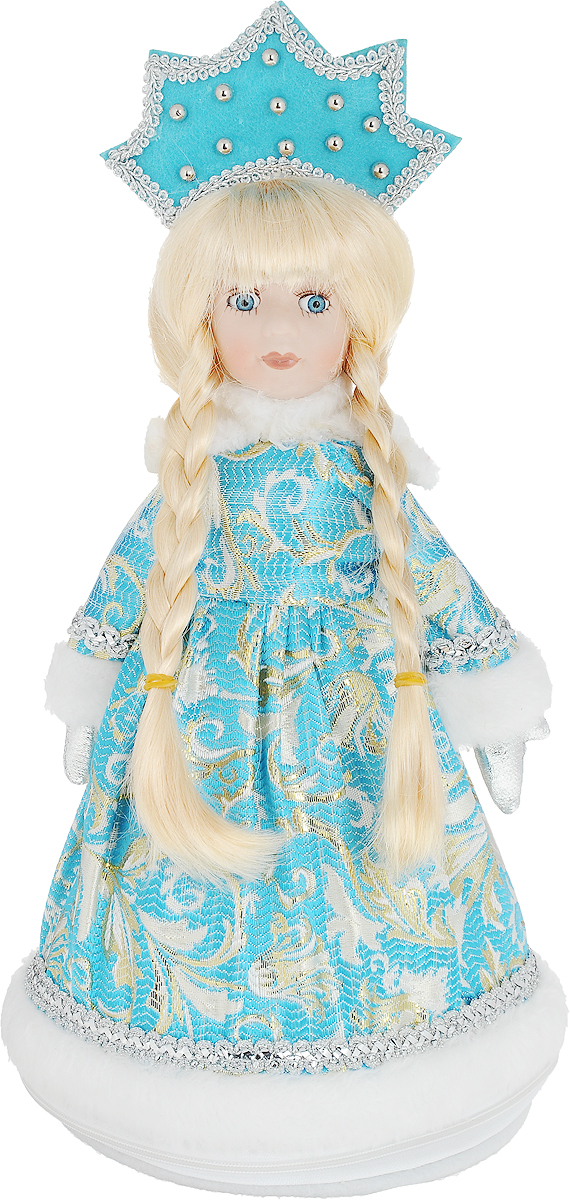 Фигурка декоративная Снегурочка, цвет: белый, голубой, 35 см175477