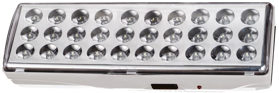 Camelion LA-103 30 LED аккумуляторный светильник11304Предназначен для использования в качестве источников резервного освещенияпри отключении электроэнергии в жилых и хозяйственных помещениях. Режимработы: аварийный. При наличии напряжения в сети подзаряжается встроенныйаккумулятор и светодиоды при этом не светятся. При отключении электроэнергии светильник работает в течение 6 часов в режимеслабое освещение (30 светодиодидов - пониженный уровень яркости) или 3 часав режиме полное освещение (30 светодиодов) от аккумулятора.Способ крепления: настенный.Номинальное напряжение: 230 В, 50 Гц.Количество светодиодов: 30.Световой поток: 250 Лм.Цветовая температура: 6000 К.Материал корпуса: пластик.Тип аккумулятора: свинцово-кислотный 4 В, 1,3 Ач.Время до полной зарядки 12–15 часов.Диапазон рабочих температур: от 0°С до +40°С.Габаритные размеры: 205 х 68 х 45 мм.Степень защиты: IP20.