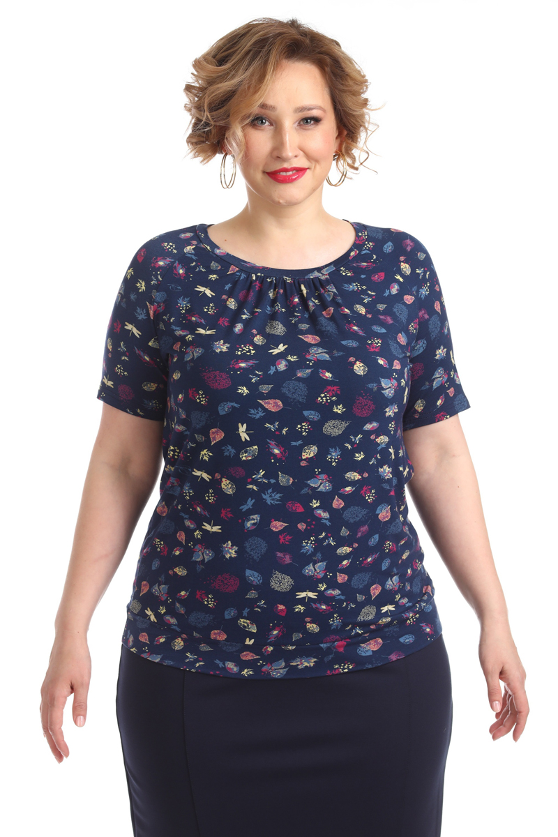Блузка женская Averi, цвет: темно-синий. 1313_625. Размер 64 (66) блузка женская averi цвет оранжевый 1440 размер 64 66