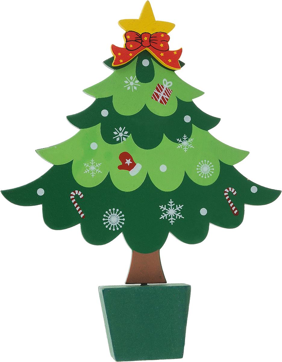 Декоративное украшение Ёлочка, цвет: зеленый, 16 см72809Декоративное украшение Елочка отлично подойдет для новогоднего декора дома в преддверии праздников. Изделие выполнено из МДФ в виде елочки на подставке. Вы можете поставить такую елочку в любое понравившееся вам место.Новогодние украшения несут в себе волшебство и красоту праздника. Они помогут вам украсить дом к предстоящим праздникам и оживить интерьер по вашему вкусу. Создайте в доме атмосферу тепла, веселья и радости, украшая его всей семьей.