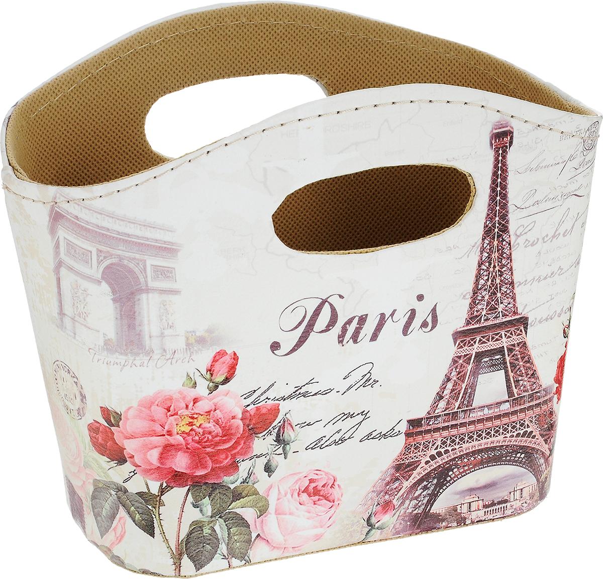 Корзина декоративная Win Max, 20 х 12 х 16 см. 8440984409Декоративную корзину Win Max с нежным рисунком, напоминающем о Париже, можно использовать как элемент декорирования и для хранения приятных мелочей. Корзина с двумя прорезными ручками, изнутри обтянута текстилем, поверхность из искусственной кожи легко очищается от пыли сухой мягкой тканью.