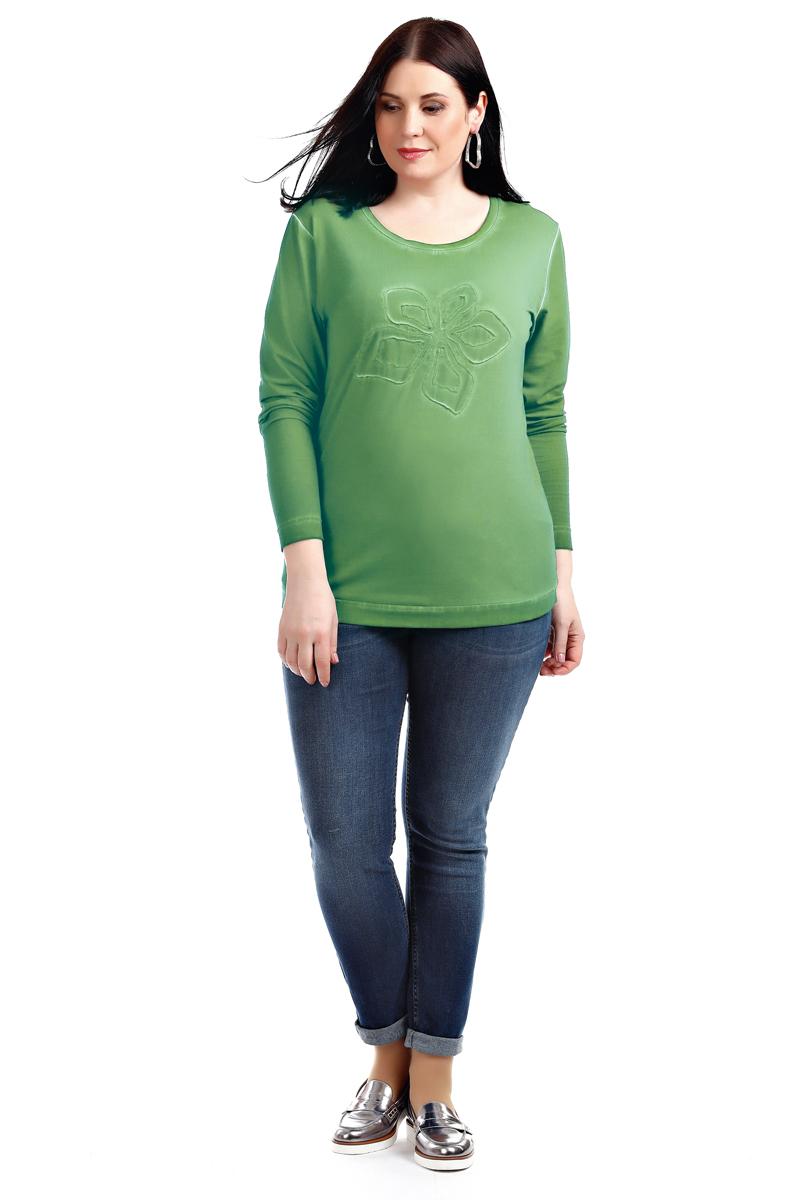 Лонгслив женский Averi, цвет: зеленый. 1320_011. Размер 52 (54)1320_011Лонгслив выполнен из хлопка с эластаном, полуприлегающего силуэта. Круглая горловина, длинный рукав. Модель с лазерным принтом на груди декорирована эффектом потертости. Такой эффект достигается путем варки изделия. Элегантный лонгслив сочетается с любой одеждой и удачно подчеркнет вашу природную красоту.