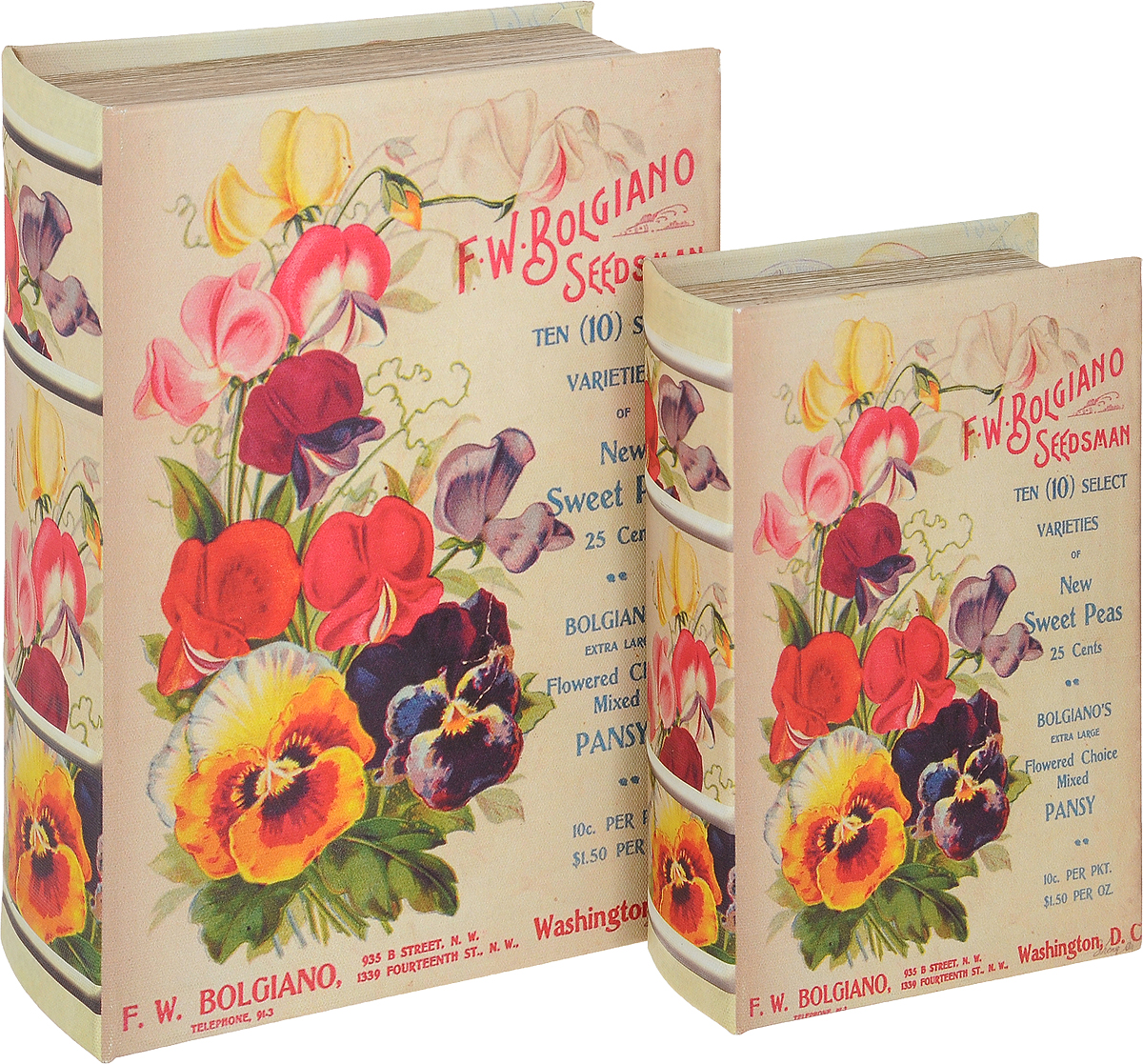 Набор шкатулок-фолиантов Win Max Летние цветы, 2 шт, 22 х 16 х 7 см набор сундучков win max 25 х 17 х 13 см 2 шт 83605