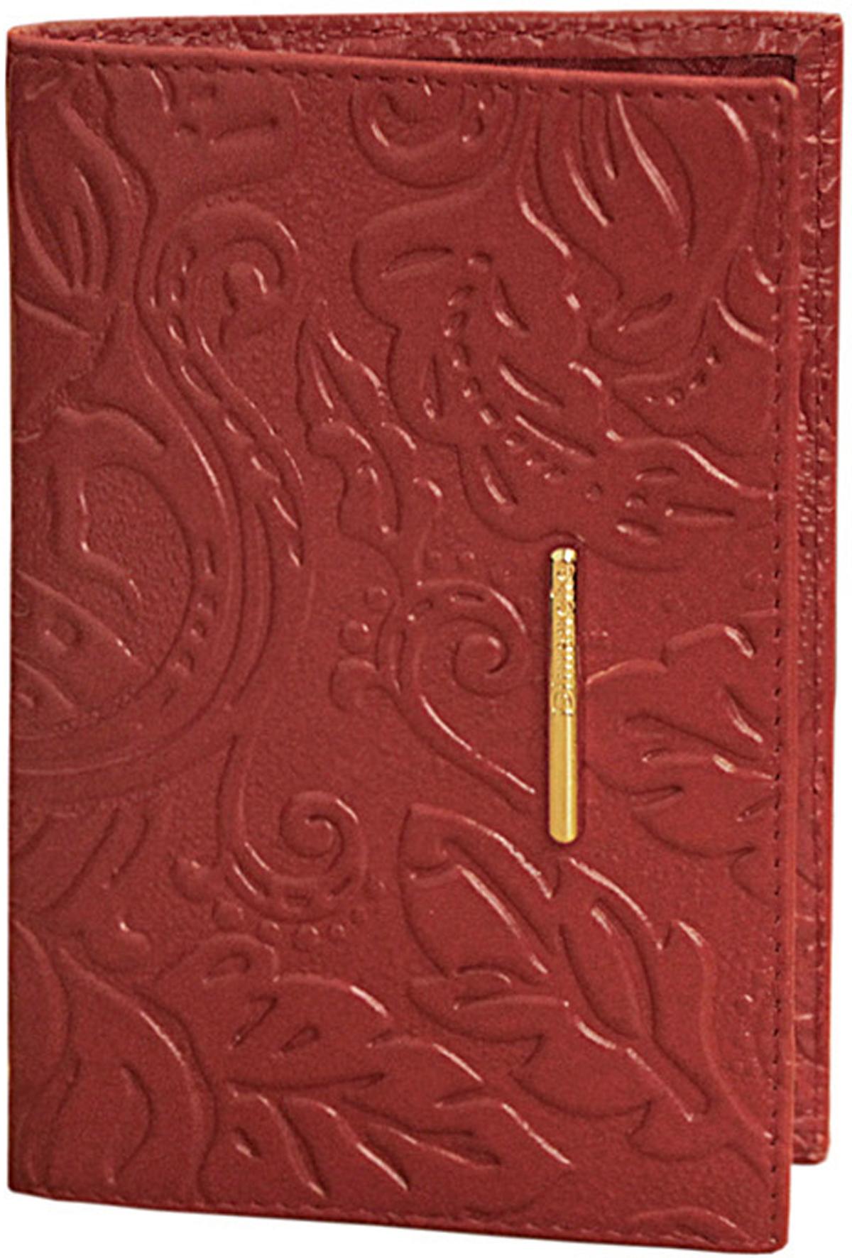 Обложка для паспорта женская Dimanche Арабеска, цвет: красный. 920920Элегантная обложка для паспорта Dimanche Арабеска выполнена из натуральной мягкой кожи с изящным украшением. На внутреннем развороте два кармана из прозрачного пластика.