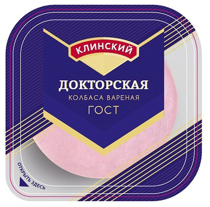 Клинский МК Колбаса Докторская, вареная, нарезка, 190 г av 105 pl мк 727