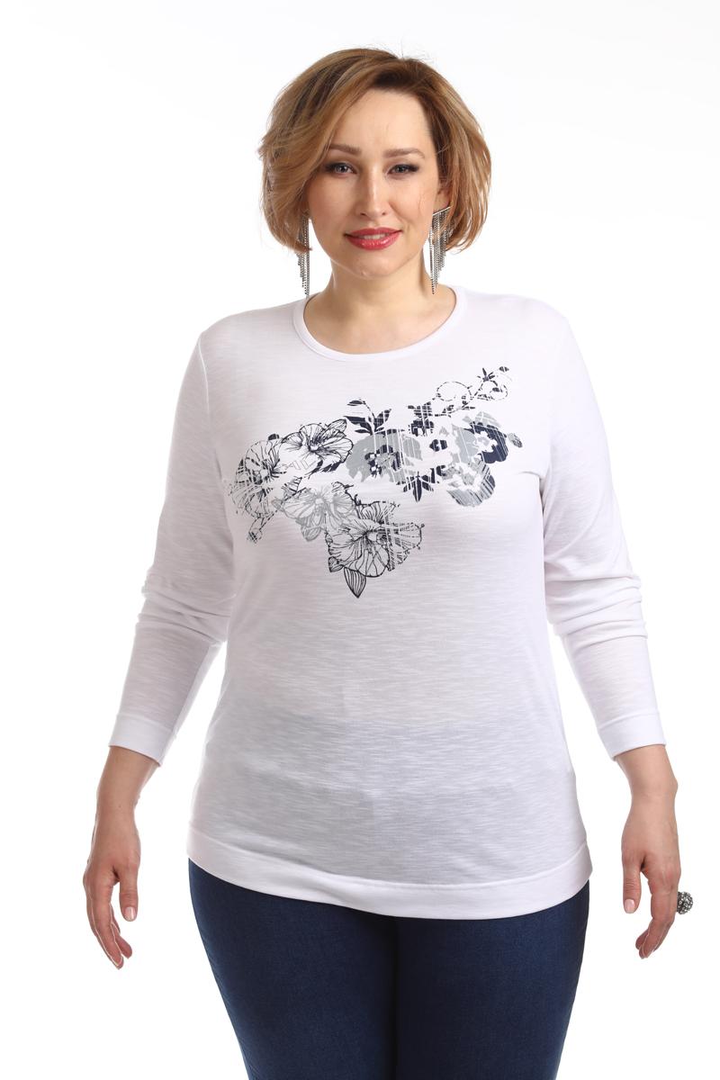 Блузка женская Averi, цвет: белый. 1377_006. Размер 64 (66)1377_006Трикотажная блузка по типу футболка полуприлегающего силуэта с длинным рукавом из тонкого, приятного к телу вискозного трикотажа с цветочным принтом собственной разработки. В сочетании с джинсами вы сможете создать комфортный и универсальный образ для отдыха и прогулок.
