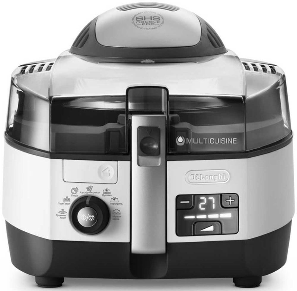 DeLonghi Multicuisine FH 1394, White мультиваркаFH 1394FH1394.W - это новое многофункциональное устройство 5 в 1, объединяющее в себе функции мультиварки, аэрогриля, аэрофритюрницы, духовки и сковороды.Запатентованная система кругового нагрева Surround Heating System SHS Double Pro в сочетании с функцией автоматического помешивания обеспечивает отличный результат приготовления и открывает новые кулинарные возможности.Модель multicuisine FH1394 White выполнена в корпусе белого цвета. Благодаря двум нагревательным элементам и циркуляции горячего воздуха, блюда в ней готовятся быстро и равномерно.