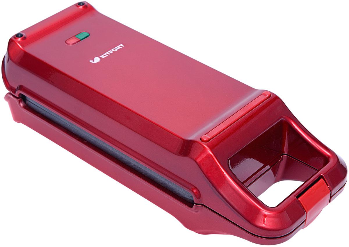 Kitfort КТ-1611, Red вафельница для бельгийских вафельКТ-1611-2Электрическая вафельница Kitfort КТ-1611 поможет испечь венские и бельгийские вафли. Она оснащена световыми индикаторами включения и готовности к работе, независимыми нагревателями в каждой половинке формы и отсеком для хранения шнура. Противоскользящие ножки не дают прибору скользить по столу во время готовки.