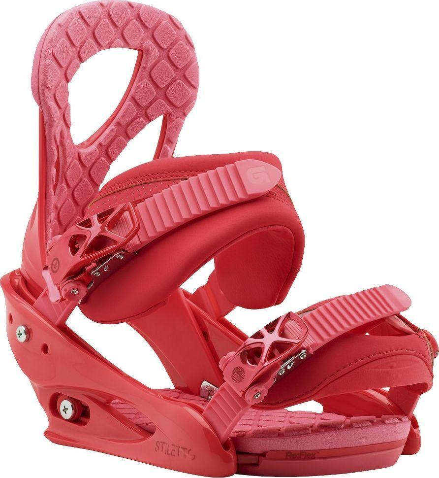 Крепления для сноуборда Burton Stiletto, цвет: красный. Размер M10548104612Одни из самых популярных креплений Burton для прогрессирующих девушек-райдеров обладают всеми необходимыми настройками, а также легкостью, удобством и привлекательным внешним видом. Их конструкция разработана с учетом особенностей катания и потребностей женской ступни, формованные стрэпы отлично держат ботинок, хайбэки повторяют анатомические особенности правой и левой ног, а средняя жесткость приносит идеальный баланс между комфортом и отзывчивостью.Re:FLEX-версия креплений отличается уменьшенным весом и высоким уровнем отзывчивости доски, так как жесткость теперь не влияет на способность доски прогибаться. И конечно же это полная универсальность - крепления можно поставить на доски любых производителей.Параметры:-Женские крепления для сноуборда.-Жесткость: средняя.-Легкая база из поликарбоната Bomb-Proof.-Технология креплений Re:FLEX: уменьшенный вес и высокий уровень отзывчивости доски, так как жесткость креплений теперь не влияет на способность доски прогибаться.-Конструкция креплений True Fit разработана с учетом анатомических особенностей женской ноги.-Однокомпонентная конструкция хайбэка для лучшей отзывчивости.-Хайбэк Canted повторяет анатомические особенности правой и левой ног.-Регулировка наклона хайбэка MicroFLAD.-Дизайн True Fit: общий дизайн и внутренняя часть крепления разработана с учетом особенностей катания и потребностей женской ступни.-Формованные стрепы Lushstrap с наполнителем из вспененного материала EVA.-Конструкция стрепов Flex Slider для удобства встегивания в крепления.-Нижний стреп Gettagrip Capstrap: формованный и цепкий.-Легкие металлические бакли со вставками из поликарбоната Smooth Glide разработаны компанией Burton и готовы работать мягко и надежно не один сезон.-Амортизирующая вставка FullBED из вспененного материала EVA повторяет форму подошвы ботинка, обеспечивая высокий уровень амортизации; легко снимается без дополнительных инструментов.Как выбрать сноубо