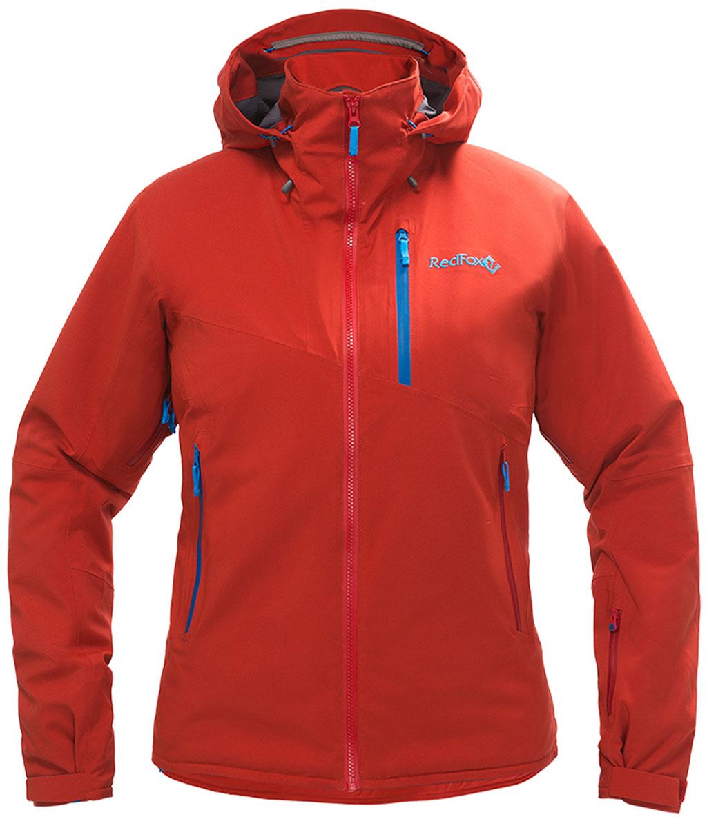 Куртка женская Red Fox, цвет: темно-красный. 1051610. Размер L (50)1051610В моделях Voltage используется эксклюзивный утеплитель Thinsulate®FX70, который выполнен из эластичного синтетического волокна и ламинирован с ультралёгкой трикотажной подкладкой, что позволяет использовать меньшее количество слоев одежды. Изделия обладают свойствами климат-контроля, благодаря которым во время катания поддерживается оптимальная температура тела. Регулируемый в трех плоскостях капюшон с ламинированным козырьком совместим с каской. Центральная тракторная молния. Защита подбородка из микрофлиса. Вентиляция в подмышечной зоне на молнии со вставками из сетки. Односторонняя регулировка по низу изделия. Воротник-стойка продублирован микрофлисом. Снегозащитная юбка и нижняя часть подкладки куртки выполнены из влагостойкого материала. Эластичные внутренние манжеты с отверстием для большого пальца. Влагозащитные наружные молнии и проклеенные швы.